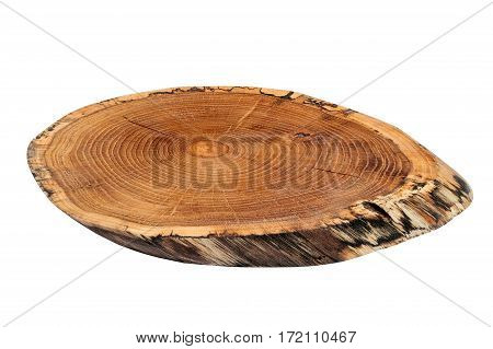 Closeup of blank wooden cutting board isolated on white background