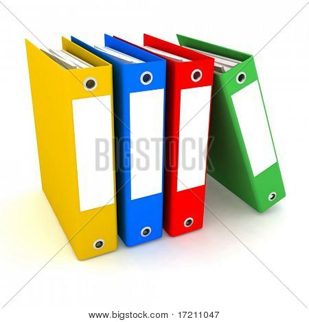 Folders for papers isolated on a white background