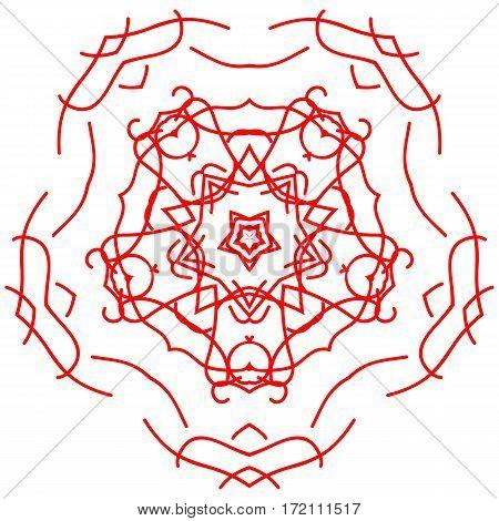 Red circle ornament design element vector graphics.