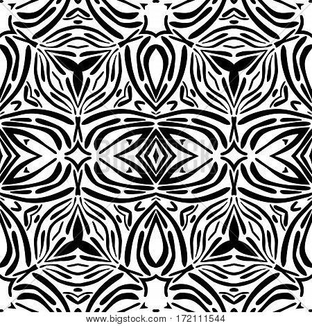 Arabian black and white ornament seamless pattern for background