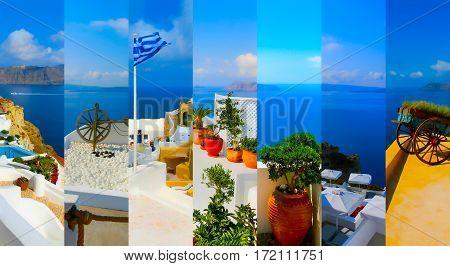 Set Of Summer Photos In Santorini, Greece