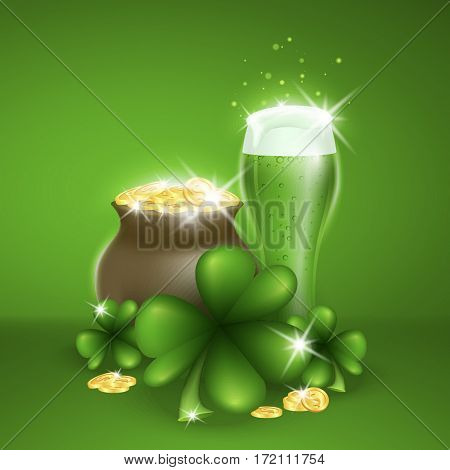 Saint Patricks Day Card with Pot Full of Golden Coins and Green Beer, Clover on Green Background. Vector Illustration.