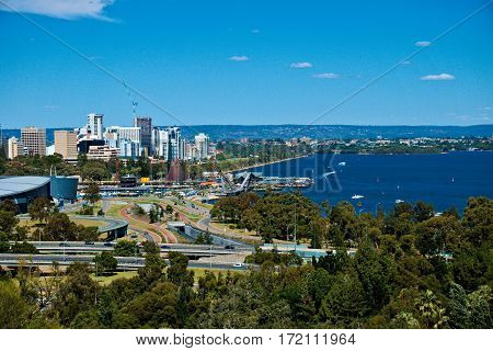 A view of the Perth City and Swan River