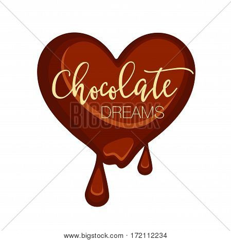 Chocolate candy in heart shape isolated on white. Vector illustration of dark heart choco sweet that melts and with two falling drops. Chocolate dreams tasty present love concept in flat design.