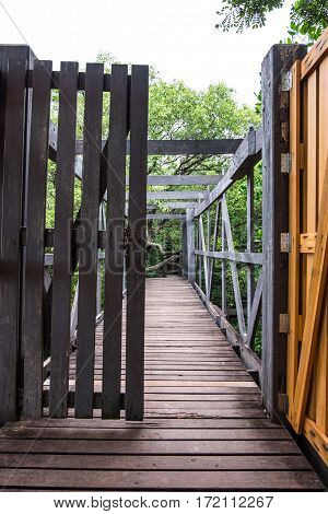 Wooden double door and canal bridge openning on the forest.