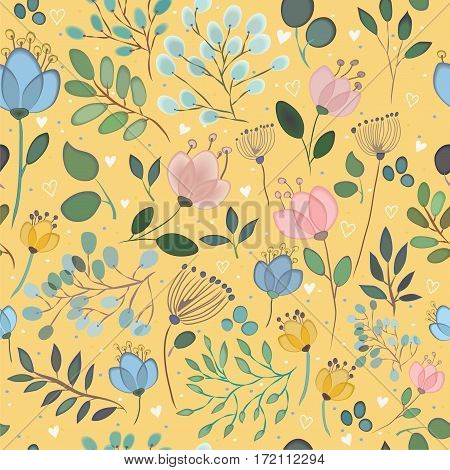 Floral seamless pattern. Watercolor effects. Vintage style. Illustration