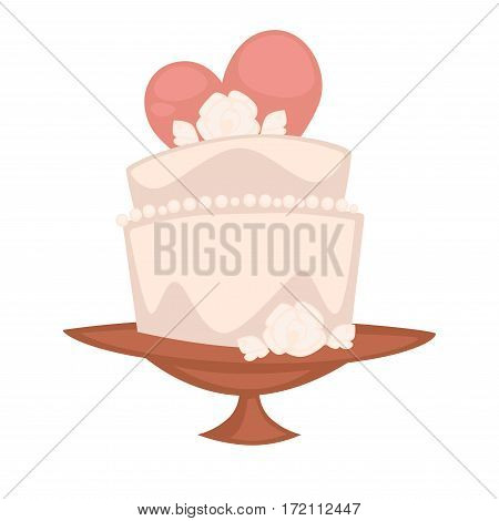 Wedding cake on the plate with heart on background. Double cake sweet dessert for engagement holiday celebration. Vector illustration of fresh bakery dessert for Valentine's day, birthday party