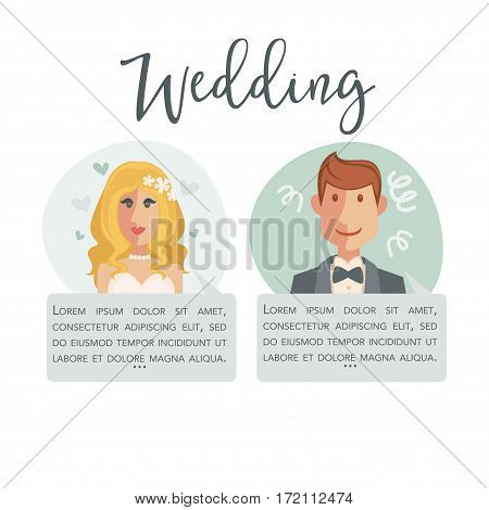 Wedding poster with bride in white dress and groom in suit. Save the Date invitation card design. Romantic couple going to marry. Add your text, wedding poster design vector illustration in flat style