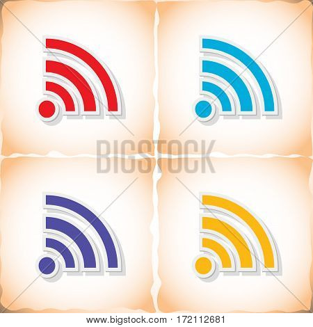Wi-Fi. Flat sticker with shadow on old paper. Vector illustration