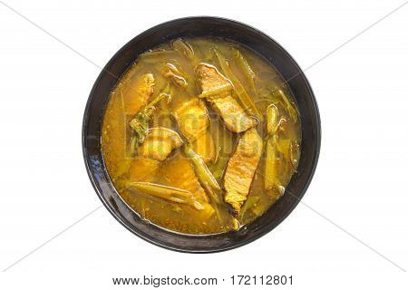 Hot sour soup made of tamarind paste with belly pork and several kinds of vegetables.
