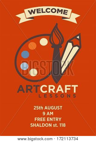 Invitation card to art craft lesson with graphic logo emblem and address on red background. Vector brochure with white pencil, brush and paint palette, information about location and start of class