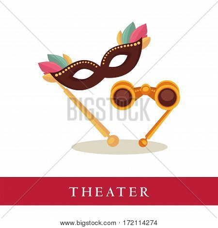 Theatre opera glasses and venetian mask icons isolated on white background. Attributes for watching theatrical performances, objects for audience. Vector advertisement logotype for theater tickets