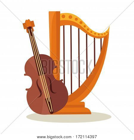 Orchestral harp and violoncello isolated on white background. Theatrical musical instruments for symphonic concerts. Traditional violin and harp vector logo design. Music items for performances