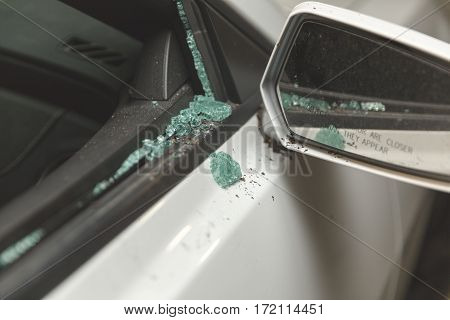 Broken Window On Modern Sports Car
