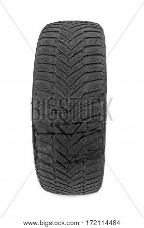 car tire isolated on white background. A close up