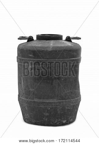 plastic black barrel isolated on white background