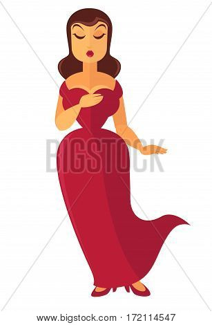 Woman singer in luxury red dress on high heels isolated on white background. Theater or opera actress acting in play. Vector illustration of lady theater-goer expressing delight from seen performance
