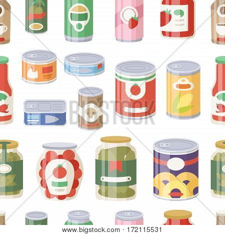 Collection of various tins canned goods food metal container grocery store and product storage seamless pattern aluminum flat label conserve vector illustration. Meal steel cylinder nutrition.