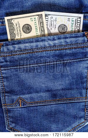 Dollar Bills In The Pocket Of Jeans.