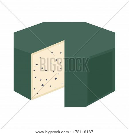 Delicious fresh cheese variety italian dinner icon flat dairy food and milk camembert piece delicatessen gouda meal isolated vector illustration. Traditional sort old cheddar delicious.