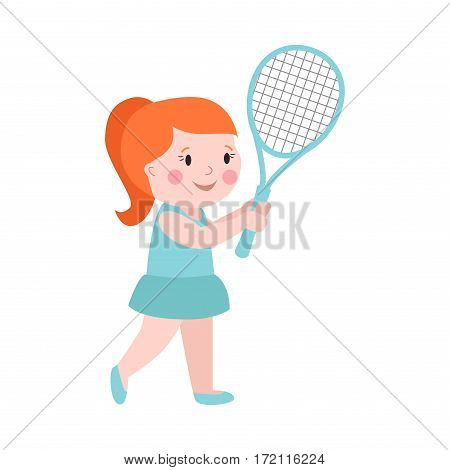 Sport girl tennis player with racket athletic health leisure and good looking kid prepared for active game, action competition cartoon people vector. Play active lifestyle caucasian children.