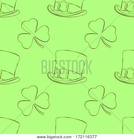 Saint Patrick's Day outline seamless pattern with leprechaun hat and shamrock. Simple cartoon style. Vector illustration. Holiday Collection.
