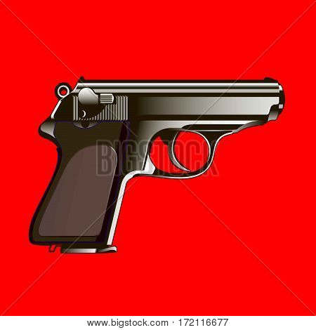 The classical gun on a red background. Vector illustration