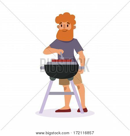 Picnic setting with fresh food hamper basket barbecue resting man and summer meal party character lunch garden character vector illustration. Cooking outdoor healthy lifestyle time.