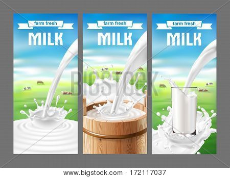 Vector illustration of a set of labels for milk and dairy with milk splash and pouring. Realistic style