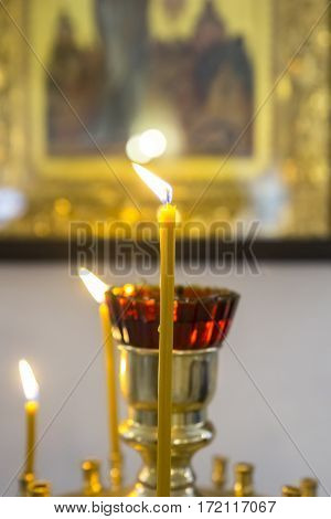 Stand For Candles In The Interior Of A Church.