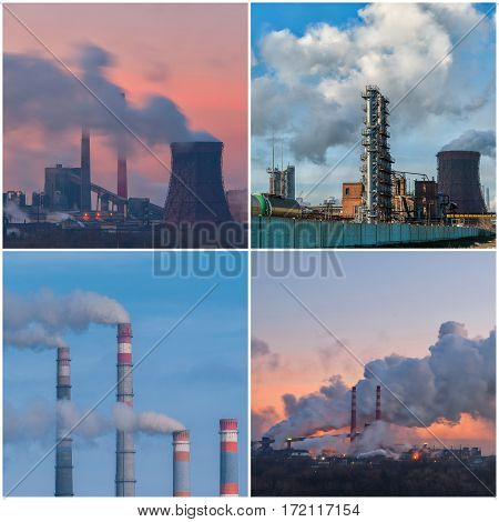 Set of industrial landscapes with pipes and smoke from big plant