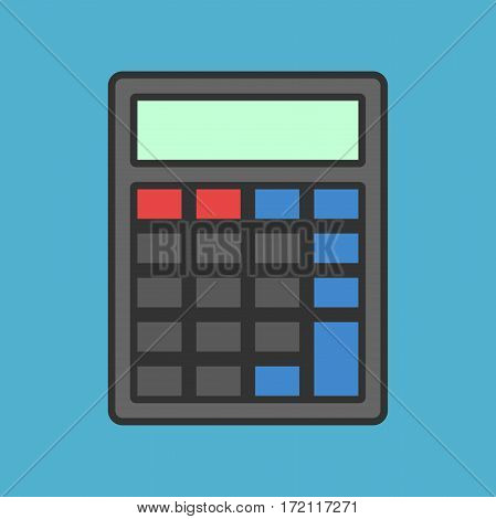Black blank abstract calculator with color buttons without numbers on blue background. Calculation accounting and education concept. Flat design. Vector illustration. EPS 8 no transparency