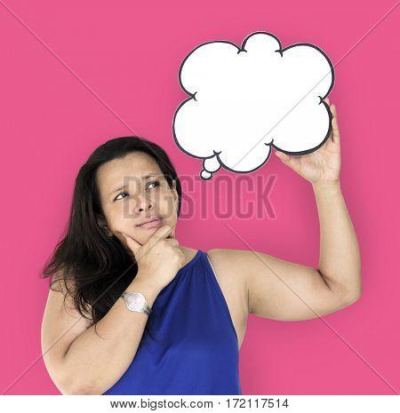 Woman Curious Thinking Bubble Copy Space Studio Portrait