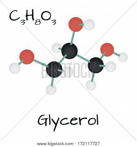 molecule C3H8O3 Glycerol isolated on white in vector