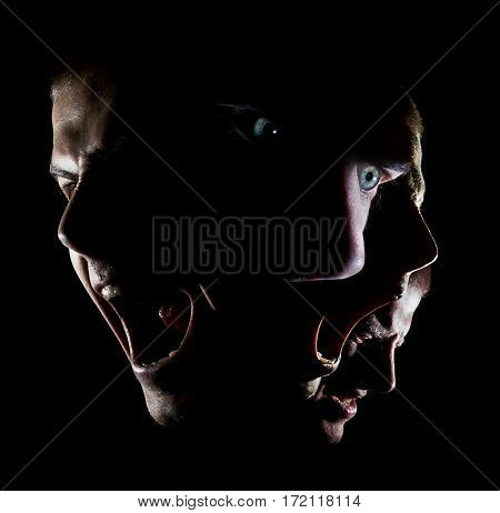 surrealistic portrait of a man with green eyes concept anger agony disheartened force