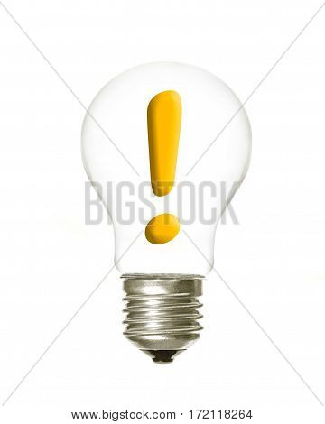 a light bulb with the exclamation symbol inside on a white background