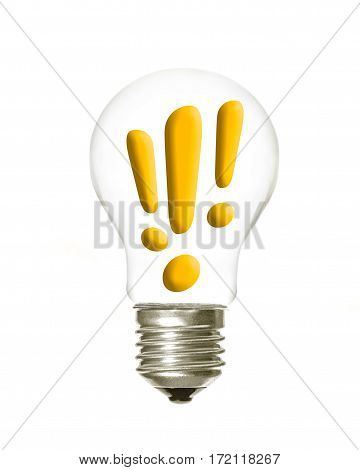 a light bulb with the three exclamation symbols inside on a white background