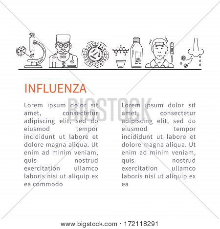 Template flyer Prevention of influenza. The doctor, microscope, influenza virus - the icons in a linear style.
