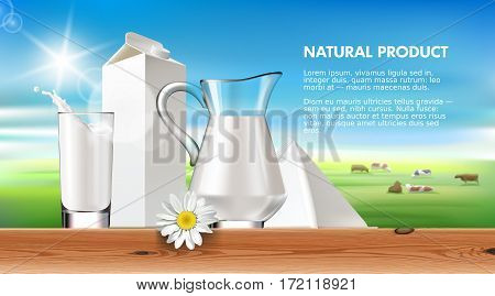 Vector illustration milk and dairy on a background of green lawn and herd cows. Label template on the packaging for milk and milk products