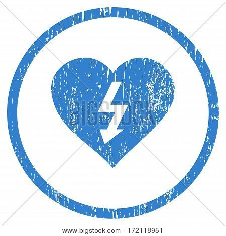 Power Love Heart grainy textured icon for overlay watermark stamps. Rounded flat vector symbol with dirty texture. Circled cobalt ink rubber seal stamp with grunge design on a white background.