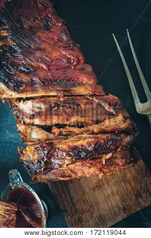 Delicious Barbecued Ribs Seasoned With A Spicy Basting Sauce