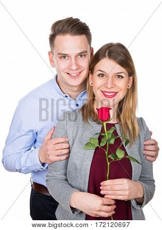 Picture of a happy young couple on Valentine's day