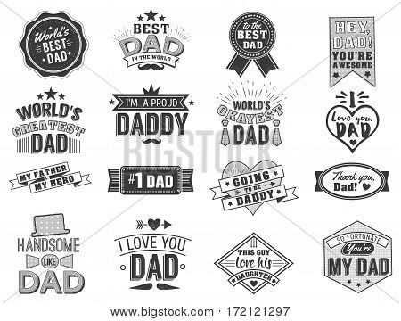 Isolated Happy fathers day quotes on the white background. Dad congratulation label, badge vector collection. Mustache, hat, stars elements for your design.