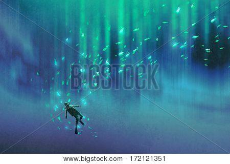 diver and many glowing fish under the sea, illustration painting