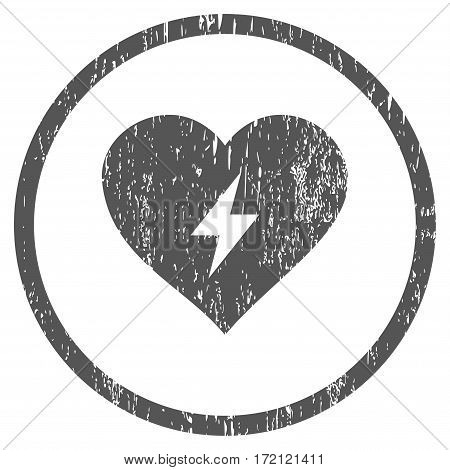 Heart Power grainy textured icon for overlay watermark stamps. Rounded flat vector symbol with scratched texture. Circled gray ink rubber seal stamp with grunge design on a white background.