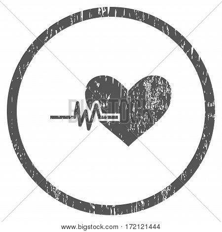 Heart Pulse grainy textured icon for overlay watermark stamps. Rounded flat vector symbol with unclean texture. Circled gray ink rubber seal stamp with grunge design on a white background.