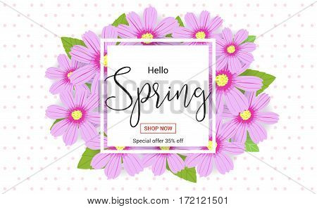 Hello spring season time sales season banner or poster with colorful blossom flower