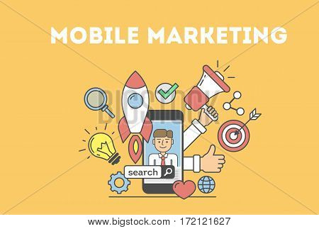 Mobile marketing concept. Banner with icons as loudspeaker, hands, rocket and light bulb. Idea of e-commerce, technology and social media.
