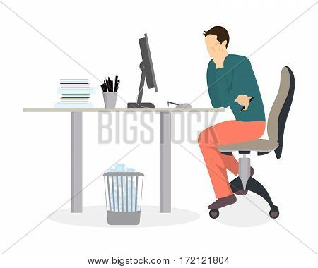 Man in office working. Isolated silhouette on white background. Secretary or businessman.