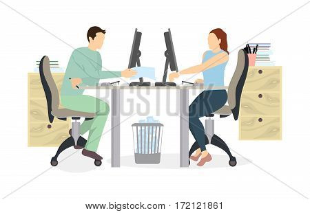 Staff in office working. Isolated silhouettes on white background. Secretary or businessmen. Man and woman.